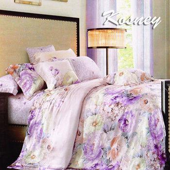 【KOSNEY】花語悠藍  雙人100%天絲全舖棉四件式兩用被冬包組