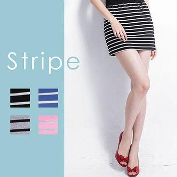 超值4件組【Highly】舒棉彈性條紋顯瘦窄短裙(S-XL)