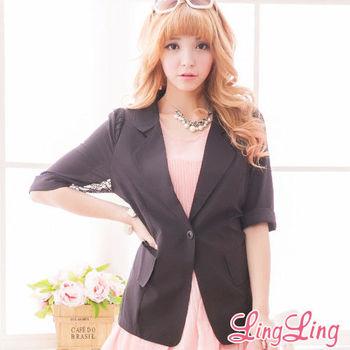 lingling中大尺碼 蕾絲花網拼接七分袖西裝外套(俐落黑)A1387-01 適穿胸圍36吋~42吋以內