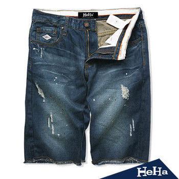 HeHa-水洗磨破修身男士牛仔短褲