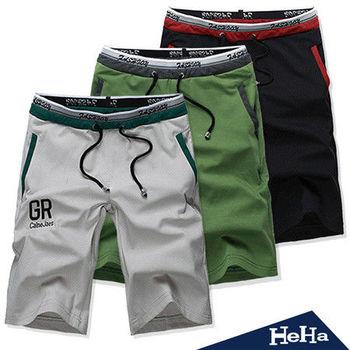 HeHa-拼接假兩件五分休閒短褲 二色