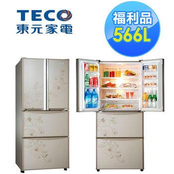 【福利品】TECO東元四門566L花繪變頻冰箱(R6253DTXH)