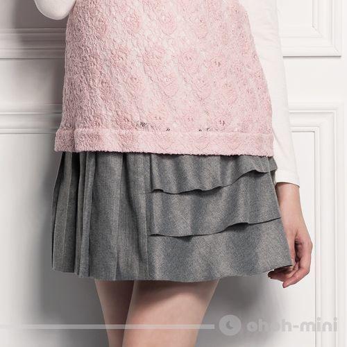【ohoh-mini】 風潮甜心不對稱造型孕婦短裙
