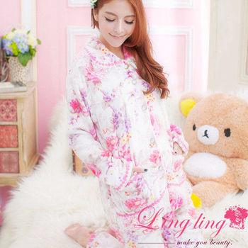 lingling日系 全尺碼-優雅漸層印花蕾絲水貂絨二件式睡衣組(優雅白)A1783-02