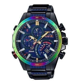 CASIO EDIFICE INFINITI 紅牛聯名款全新藍牙精靈戰士智慧運動限量錶款-黑+藍針-EQB-500RBB-2A