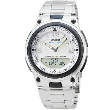 CASIO 卡西歐雙顯多時區鬧鈴電子鋼帶錶-銀 / AW-80D-7A2 (原廠公司貨)