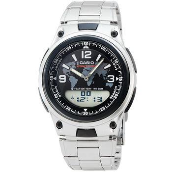 CASIO 卡西歐雙顯多時區鬧鈴電子鋼帶錶-黑 / AW-80D-1A2 (原廠公司貨)