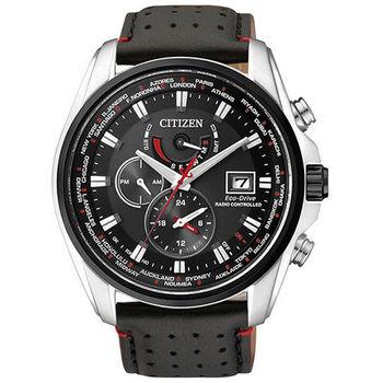 【CITIZEN】紳士品味 光動能電波三眼計時腕錶-黑/46mm(AT9037-05E)