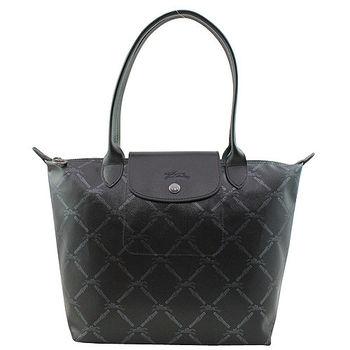 LONGCHAMP法國新款菱格賽馬短把手提包-中(黑色)