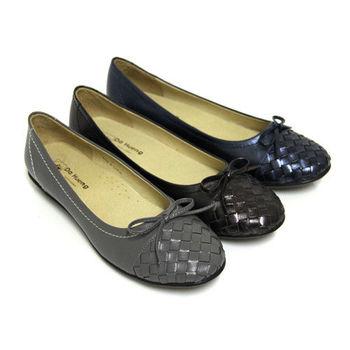 【GREEN PHOENIX】柔和恬靜編織綁帶蝴蝶結羊皮平底娃娃鞋-藍色、古銅色、灰色