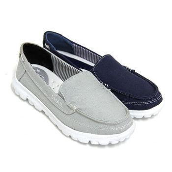 【SNAIL蝸牛】中性愜意素面極簡套入式輕量平底懶人鞋-藍色、灰色