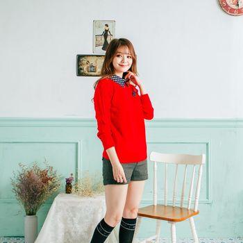 iima 英倫學院風針織上衣(紅)