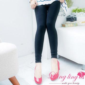 【lingling】超厚保暖內絨毛褲管雙折內搭褲(顯瘦黑)A1855-01