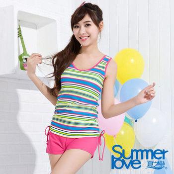 【夏之戀TRAVEL FOX】彩色條紋長版三件式泳衣(C15723)