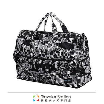 《Traveler Station》HAPI+TAS 摺疊圓形旅行袋(小)新款-135愛麗絲派對灰