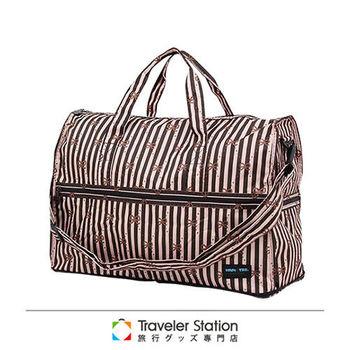 《Traveler Station》HAPI+TAS 摺疊圓形旅行袋(小)新款-123咖啡色線條蝴蝶結
