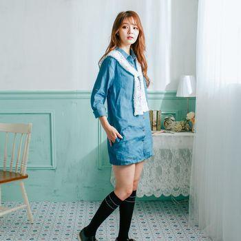 iima 森林系女孩牛仔丹寧洋裝(淺藍)