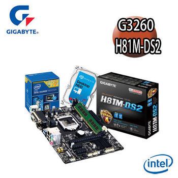 【技嘉組合】Intel G3260+H81M-DS2主機板+4G記憶體+1TB硬碟 優質嚴選