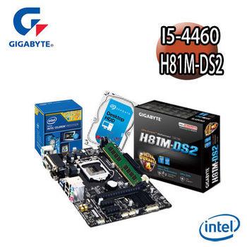【技嘉組合】Intel I5-4460+H81M-DS2主機板+4G記憶體+1TB硬碟 優質嚴選