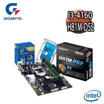 【技嘉組合】Intel I3-4160+H81M-DS2主機板+4G記憶體+1TB硬碟 優質嚴選