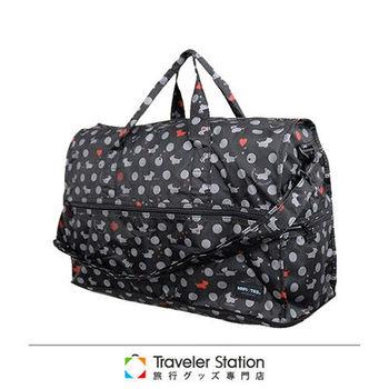 《Traveler Station》HAPI+TAS 摺疊圓形旅行袋(小)新款-156皇家小狗黑色