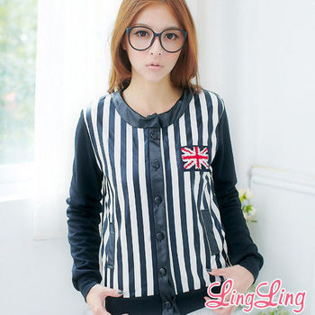 【lingling】男孩風國旗貼布皮質條紋棒球外套(個性黑)A1831-01