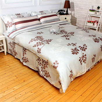【Love City寢城之戀】頂級TENCEL天絲【卡布奇諾】雙人六件式兩用被床罩組(5X6.2尺)