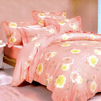 【Betrise】紅粉菲菲-頂級100%雙人60支長絨棉四件式兩用被床包組