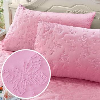 J‧bedtime【蝶舞飛揚-粉蝶】枕頭專用防塵防汙保潔枕墊(2入)
