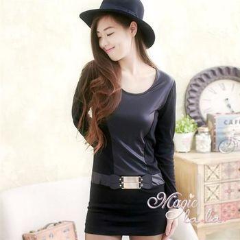 【魔法拉拉】皮革拼接腰釦合身長袖洋裝A488(魅力黑)
