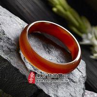 ~東方翡翠寶石~天珠紅瑪瑙玉髓手鐲玉鐲(紅色,微透光,圓鐲 ^#35 18.5)RM014