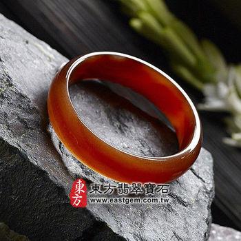 【東方翡翠寶石】天珠紅瑪瑙玉髓手鐲玉鐲(紅色,微透光,圓鐲#18.5)RM014