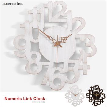 【a.cerco】NUMERIC LINK 立體數字造型掛鐘 (兩色可選:復古黑、復古白)