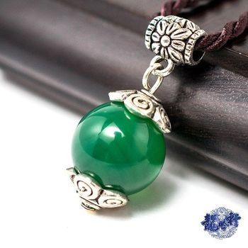 【龍吟軒】14mm綠瑪瑙五行轉運珠項鍊/吊墜