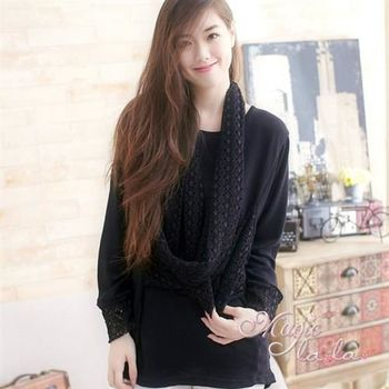 【魔法拉拉】鏤空織紋假兩件長袖長上衣A416(雅緻黑)