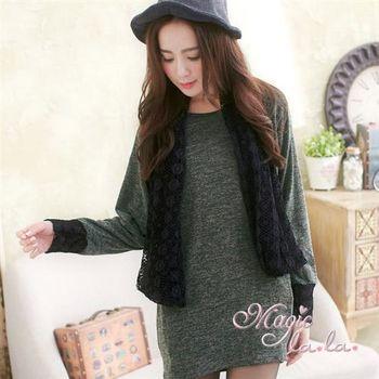 【魔法拉拉】鏤空織紋假兩件長袖長上衣A416(柔感綠)