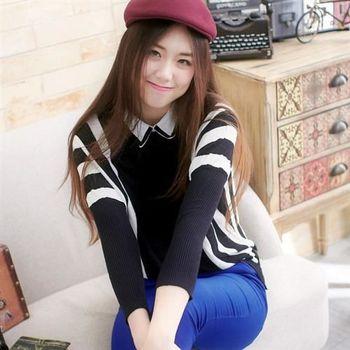 【魔法拉拉】襯衫領黑白條紋上衣A418(摩登黑白)