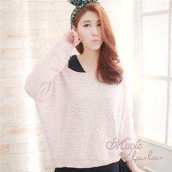 【魔法拉拉】唯美簡約針織長袖上衣A229(嫩粉紅)