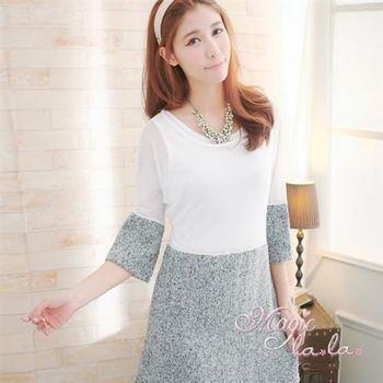 【魔法拉拉】網紗拼接真兩件長袖洋裝A245(氣質白)