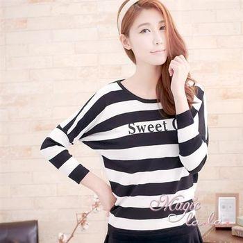 【魔法拉拉】Sweet 瑪麗蓮夢露素描長袖條紋TA236(性感黑)