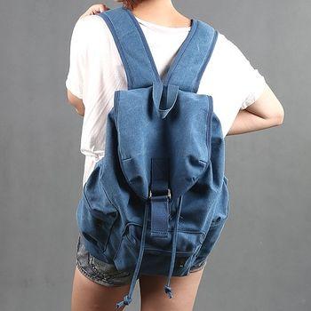 【Acorn*橡果】韓版復古個性帆布後背包6528(藍色)