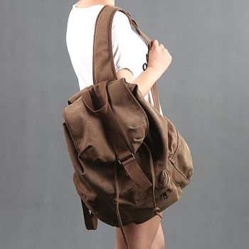 【Acorn*橡果】韓版復古個性帆布後背包6528(棕色)