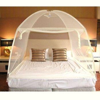 【威克爾】米色三開門大U型帳棚式蕾絲蚊帳-加大雙人床(180x190x150cm)