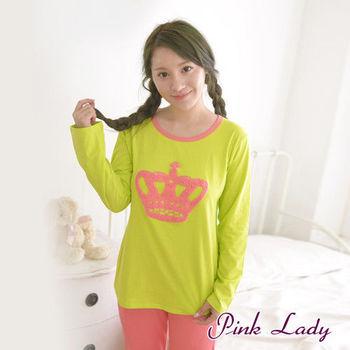 【PINK LADY】繽紛糖果色皇冠LOGO長袖睡衣褲5041(果綠)