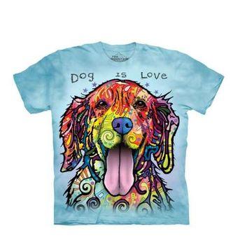 【摩達客】(預購)美國進口The Mountain 彩繪開心黃金獵犬 純棉環保短袖T恤