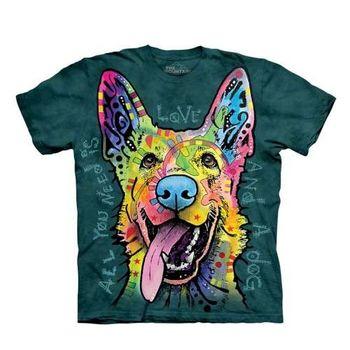 【摩達客】(預購)美國進口The Mountain 彩繪歡樂牧羊犬 純棉環保短袖T恤