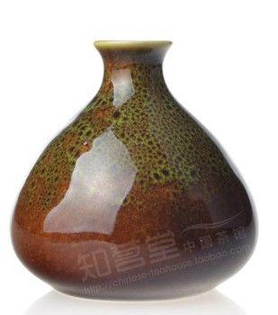 孔雀綠手繪青花瓷器小花瓶
