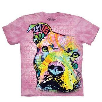 【摩達客】(預購)美國進口The Mountain 彩繪粉彩凝望比特犬 純棉環保短袖T恤