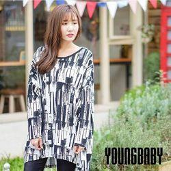 美背V型蕾絲東森購物網站商城直紋潑墨長袖長上衣
