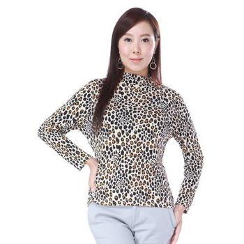 BELLA VITA 100%蠶絲拉縐小立領上衣(豹紋)